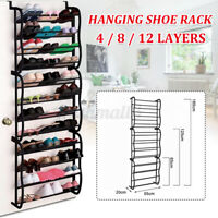 4/8/12 Tier Over The Door Hanging Shoe Rack Organiser Stand Shelf Holder Storage