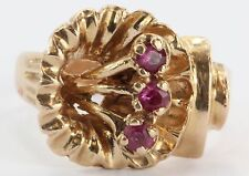 Vintage Art Deco 14K Rose Gold & Ruby Figural Flower Ring