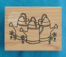 "Great Impressions rubber stamp ""THREE WATERING CANS"" F359, 2¼"" x 2¾"" wood block"