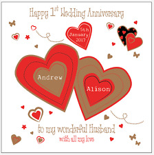 Personalised First Wedding Anniversary Card Husband Wife