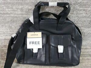 Karl Lagerfeld NEW Black Duffle Weekender Carry On Travel Bag 17x12x4