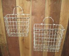 Metal Wire Baskets Wall Pockets Arrangement Holder Organizer Rustic Style Set 2