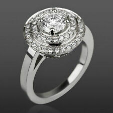 DIAMOND RING DOUBLE HALO 2.44 CT NATURAL VS 4 PRONG LADY 18 KT WHITE GOLD ROUND