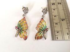 Antique style Marcasite Ruby Butterfly Drop Dangle Earrings Sterling Silver