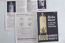 18768 Reklame Prospekt RUUD Heißwasser Speicher Hamburg 1939 Werbung Katalog