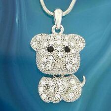 Dog W Swarovski Crystal Puppy Pet Necklace Pendant Jewelry Gift
