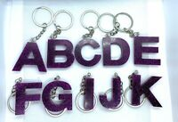 Homemade Resin Purple Large Letter Keyrings Keychains - Birthday Christmas Gifts