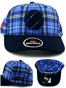 UFC Reebok New RBK MMA Fighter's Navy Octagon Blue Plaid Era Snapback Hat Cap