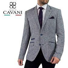Men's Cavani Canvas Style Grey Colour Blend Blazer Jacket Elbow Patches Lapel