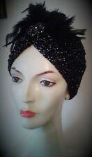 1920's Flapper Sparkly Turban hat Gatsby Black