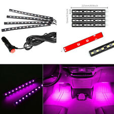 4x 12 LED RGB Purple Car Interior Atmosphere Light Footwell Floor Decor Strips