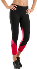 2XU Fitness Splice Womens Compression Tights Black Pink 7/8 Length Gym Workout