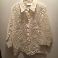 Alfred Dunner Women's Blouse Shell White Size 16 Lace Floral Collared Button Up