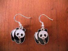 Boucles d'oreilles argentées panda