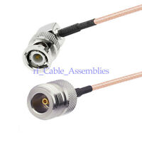 N-Type female jack straight to BNC male right angle pigtail cable RG316 for WLAN