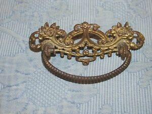 Antique Victorian Cast Iron Drawer Pull & Original Nuts & Bolts