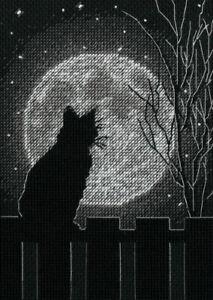 Black Moon Cat Cross Stitch Kit