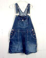 vtg 90s London women's Denim Overalls Jean Shorts Jumper Shorteralls grunge L