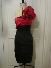 KAREN MILLEN BLACK RED ROSE CORSAGE ONE SHOULDER PENCIL DRESS - SIZE 10