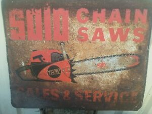 Vintage Solo Twin Chainsaw Tin Sign