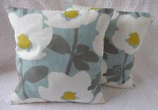 "16"" Cushion Cover Duck Egg Blue Yellow Grey White Flower Print Handmade New 40cm"