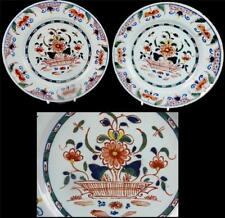 PAIR ANTIQUE 18TH CENTURY ENGLISH DELFT PLATES FLOWER BASKET POLYCHROME ENAMELS