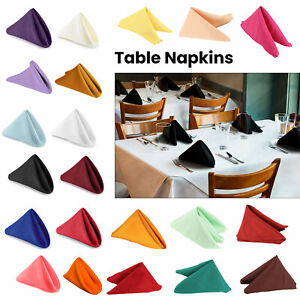 1/10 Polyester Table Cloth Square Napkins Plain Linen Wedding Hotel Dinner Party