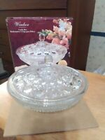 New Windsor Candy Box Confections by Indiana Glass  USA Glass Dish Bowl W/ Lid