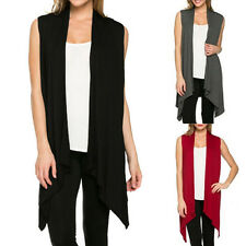 Fashion Womens Sleeveless Long Waistcoat Vest Multicolor Irregular Cardigan~