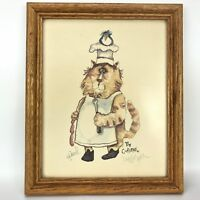 Vtg Nedobeck The Cookerer Signed Art Print Kitty Cat Cook with Blue Bird on Hat