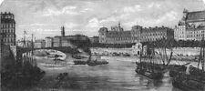 PARIS. Bridge of St Louis c1878 old antique vintage print picture