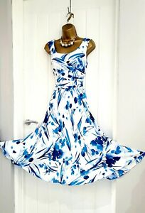 JACQUES VERT size 10 blue white floral fit & flare occasion wedding 50s dress