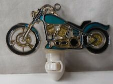 """Green/Gold/Silver Motorcycle Stained Glass Style Night Light 5 1/2"""" W x 2 1/2"""" H"""