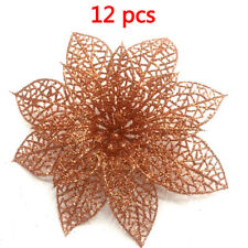12pc Christmas Tree Hanging Large 8cm Poinsettia Glitter Flower Party Decor New