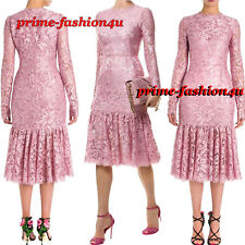Dolce & Gabbana Pink Floral Guipure Lace Flounce hem Fitted Midi Jackie Dress