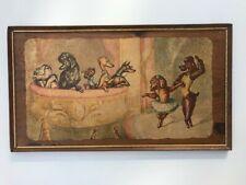 Dog Print on wood, depression era decor, 1930-1940's, delightful piece!
