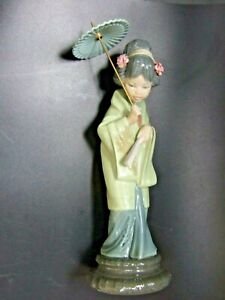 Vintage Lladro Porcelain Japanese Geisha Figurine Made in Spain Retired Rare