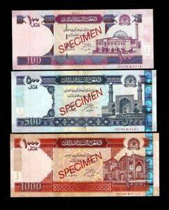 Set AFGHANISTAN 100 500 1000 AFGHANI 2002 RARE SPECIMEN P70 71 72 MONEY BANKNOTE