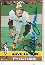DAVE TOMLIN SIGNED 1976 TOPPS #398 - SAN DIEGO PADRES