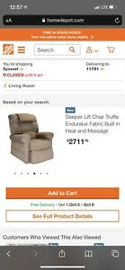 WiseLift Sleeper Lift Chair with Massage and Heat, Enduralux Fabric