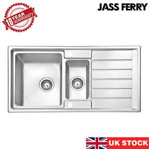 JASSFERRY Stainless Steel Kitchen Sink 1.5 Bowl Reversible Drainer 970 X 500 mm