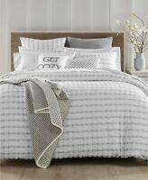 Charter Club Damask Designs Seersucker 150 TC KING Comforter White Grey