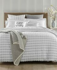Charter Club Damask Designs Seersucker 150 TC KING Comforter White Grey
