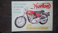NORTON COMANDO Placa metalica litografiada publicidad 41 x 30 cm replica