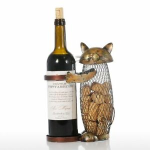 Tooarts Holder Rack Cork Container Art Iron Craft Home Animal Ornament Cat Wine