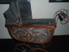 Antique Vintage Victorian Doll transport BUGGY poussette en osier BOIS & METAL