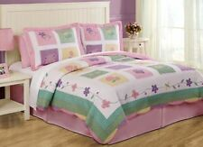 SPRING MEADOW Twin (single) QUILT SET : GIRLS PINK GINGHAM BUTTERFLY FLOWER