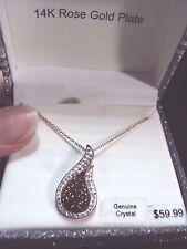 brown white crystal teardrop 14k rose gold plt copper tone pendant 18 necklace