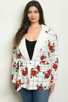 Womens Plus Size White Blazer 3X New Floral Tie Front Long Sleeve