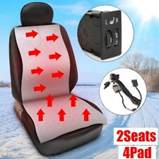 Universal Car Seat 4Pad Carbon Fiber Heater Heated Cushion 5Level Switch Kit 12V